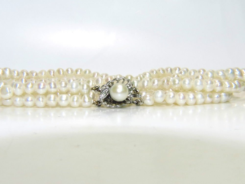 $700 FRESHWATER DOUBLE STRAND PEARL DIAMOND NECKLACE 14KT