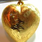 14KT YELLOW GOLD JUMBO HEART PENDANT .02CT DIAMOND A+ DETAIL LADIES NEW