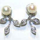 CULTURED PEARL DIAMOND DANGLE LEAF EARRINGS