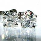 NATURAL 0.40CT DIAMOND STUD EARRINGS 14KT WHITE GOLD