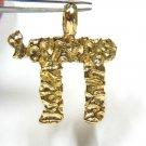$2000 14KT YELLOW GOLD SANDBLAST NUGGET DESIGN CHAI CHARM PENDANT JEWISH