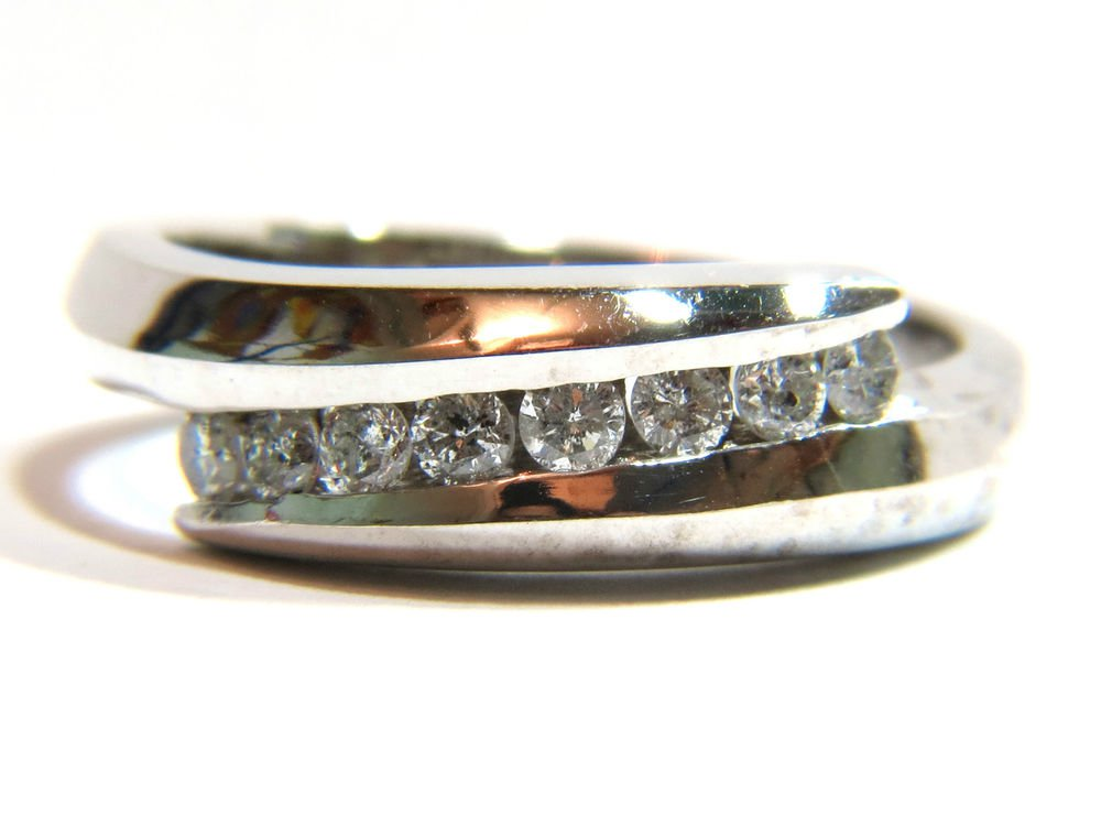 NATURAL 0.26CT CHANNEL SET DIAMOND BAND RING SI1 14KT FREE SIZING