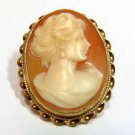 14KT YELLOW GOLD CLASSIC VINTAGE CAMEO PIN BROOCH PENDANT ANTIQUE
