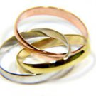 TRI COLOR MULTI TONE 14KT CLASSIC ROLLING GOLD BAND RING