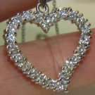 NATURAL 1CT ZIRCON HEART PENDANT NECKLACE 14KT WHITE GOLD