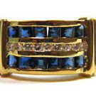 NATURAL 1.25CT SAPPHIRE DIAMOND RING 14KT YELLOW GOLD 3 ROW BAND