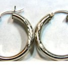 "14KT WHITE GOLD  HOOP EARRINGS FLORAL DECO 1.1"" IN"
