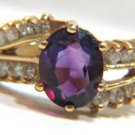 $2800 NATURAL 2.77ct vivid PURPLE AMETHYST DIAMOND RING VINTAGE DECO 14KT