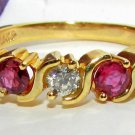 "$850  NATURAL 0.55CT DIAMOND RUBY ""S"" BAND RING 14KT"