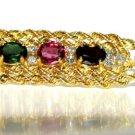 MULTI COLOR NATURAL 2.65CT TOURMALINE & DIAMOND BROOCH 14KT