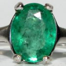 ZAMBIAN NATURAL 1.50CT OVAL GREEN EMERALD RING 14KT PETITE