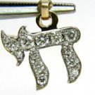 NATURAL 0.38CT DIAMOND CHAI  KABALLAH CHARM PENDANT 14KT