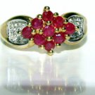 NATURAL 1.10CT RUBY DIAMOND COCKTAIL RING VINTAGE 10KT ANTIQUE FREE SIZING