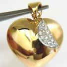 "NATURAL 0.30CT DIAMOND HEART PENDANT 14KT 1.1"""