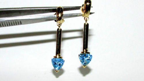 NATURAL 2.00CT BLUE TOPAZ DANGLE EARRINGS 14KT TRILLION CUT AQUA BLUE