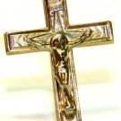 14KT YELLOW GOLD CROSS CRUCIFIX PENDANT NECKLACE