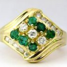 EMERALD DIAMOND 1.40CT COCKTAIL 14KT RING LADIES SIZE 6.5 VINTAGE DECO