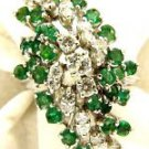 NATURAL 2.00CT EMERALD DIAMOND CLUSTER COCKTAIL 14KT RING BIG LADIES NEW VS2