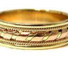 14KT YELLOW GOLD MENS RING ROSE GOLD BAND BYZANTINE DESIGN 7.2 GRAMS SIZE 10.75