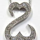 NATURAL 1.40CT DIAMOND DOUBLE HEART PENDANT NECKLACE 14KT