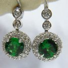 NATURAL 1.95CT TSAVORITE & DIAMOND DANGLE EARRINGS 14KT