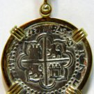 UNKNOWN COIN PENDANT FRAMED IN 14KT YELLOW GOLD VINTAGE ANTIQUE with CHAIN
