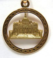 SOLID 18KT WHITE HOUSE PENDANT USA PATRIOT DECO