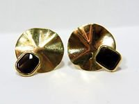 NATURAL 1.50CT BLACK ONYX 14KT YELLOW GOLD EARRINGS HAND CARVED VINTAGE