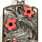 925 STERLING SILVER PENDANT NECKLACE HIPPIE PINK FLORAL DECO