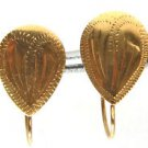 NEW VINTAGE 10KT YELLOW GOLD HEART EARRINGS PETITE DECO
