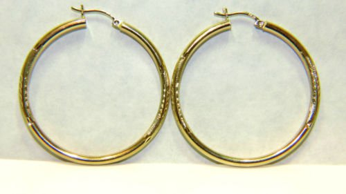 14KT YELLOW GOLD  HOOP EARRINGS FLORAL DECO 1.80""