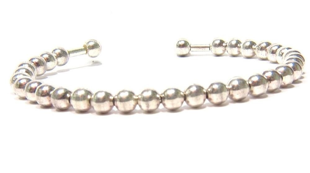 LADIES 925 SILVER BALL BANGLE BRACELET 10.1 GRAMS STRETCHABLE