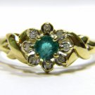 NATURAL 0.45CT EMERALD DIAMOND RING 14KT YELLOW GOLD FREE SIZING