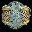 NATURAL 0.50CT DIAMOND 18KT ANTIQUE RING VINTAGE MESH BASKET BAND LADIES 7