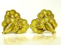 HEAVY 18KT YELLOW GOLD VINTAGE ANTIQUE EARRINGS