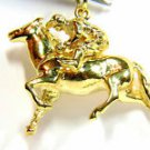 $2000 BEAUTIFUL HORSE RACER 14K YELLOW GOLD PENDANT NECKLACE 9.7 GRAMS ART DECO