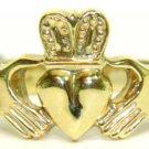 $2000 THICK 14KT YELLOW GOLD IRISH CLADDAGH RING SIZE 12