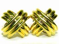 $3600 18KT YELLOW GOLD X EARRINGS 22.5 GRAMS HEAVY