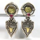 $3000 18KT YELLOW GOLD & .925 SILVER GOTHIC EARRINGS VINTAGE OLD 45.8 GRAMS