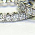 """NATURAL DIAMOND 0.60CT  LADIES HOOP EARRINGS 14KT .70"""" COMFORT DESIGN"""