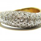 $2800 NATURAL 1.00CT DIAMOND PAVE BAND RING 14KT YELLOW GOLD CURVED SHANK