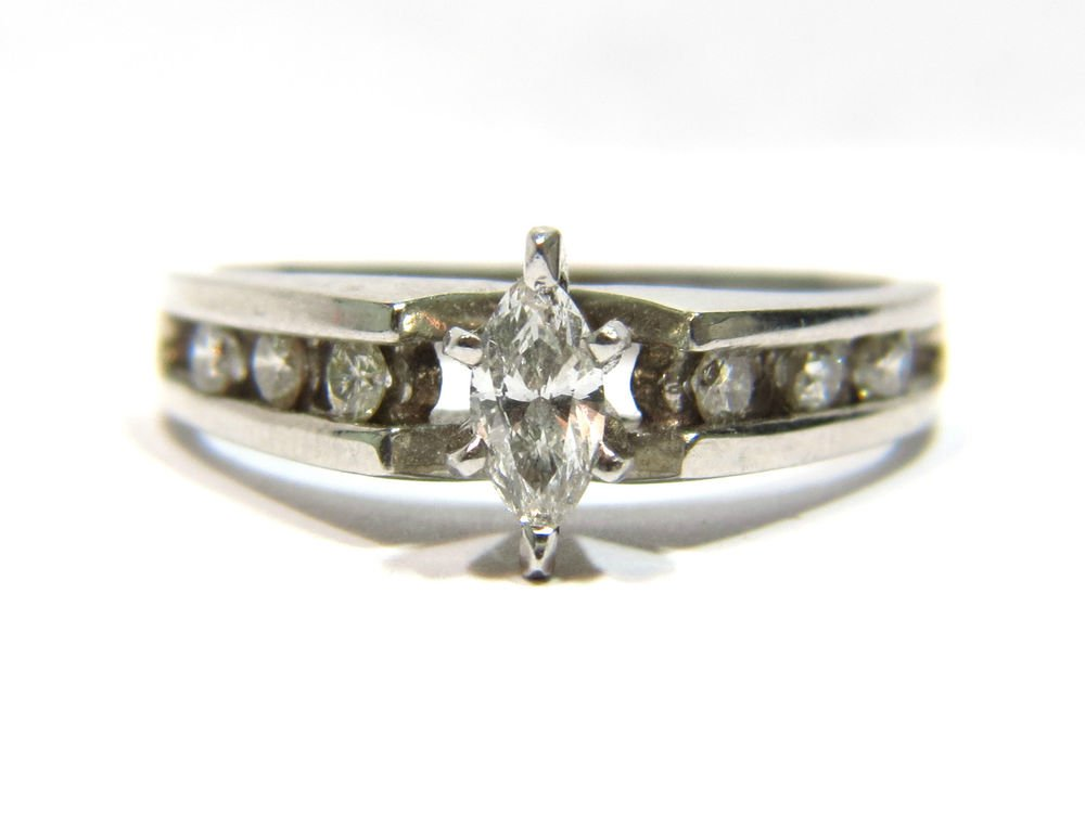 $2400 NATURAL 0.47CT DIAMOND ENGAGEMENT RING 14KT WHITE GOLD CHANNEL SET