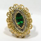$3000 NATURAL 1.86CT GREEN DIOPSIDE DIAMOND RING OLD EDWARDIAN ROPE TWIST 18KT