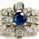 $3600 NATURAL 1.50CT SAPPHIRE DIAMOND SOLDERED INSERT RING 14KT