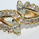 $2400 NATURAL DIAMOND COCKTAIL RING TWIN BAND DESIGN