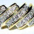 $2100 NATURAL 1.17CT  DIAMOND BAND RING 14KT YELLOW GOLD COCKTAIL DIAGONAL