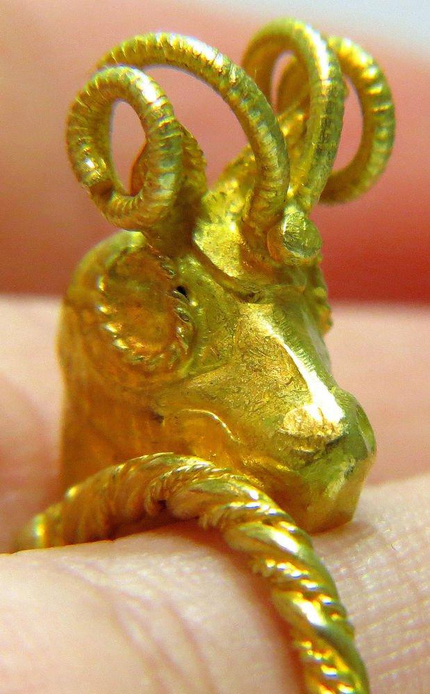 22K GOLD SOLID VINTAGE ANTIQUE RING OLD ARIES DESIGN HANDMADE CHARM 3D