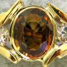 $2800 NATURAL 3.27CT HONEY SAPPHIRE & CHAMPAGNE DIAMOND BAND RING 14KT