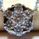 """$3200 STUNNING NATURAL .85CT DIAMOND CLUSTER PENDANT NECKLACE 16""""  14KT"""