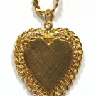 """$2400 14KT YELLOW GOLD BIG HEART LOCKED PENDANT NECKLACE 16"""""""